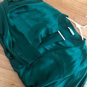 Vince. Emerald Green Satin Poly Popover Blouse